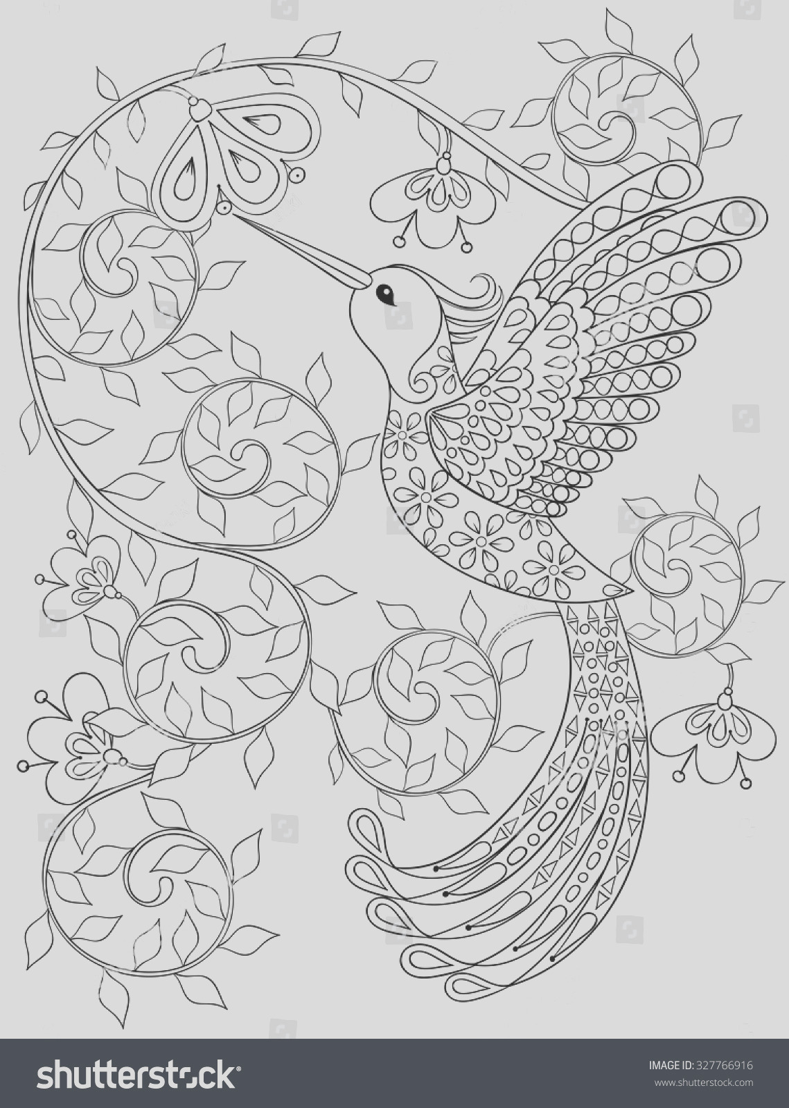 stock vector coloring page with hummingbird zentangle flying bird for adult coloring books or tattoos with