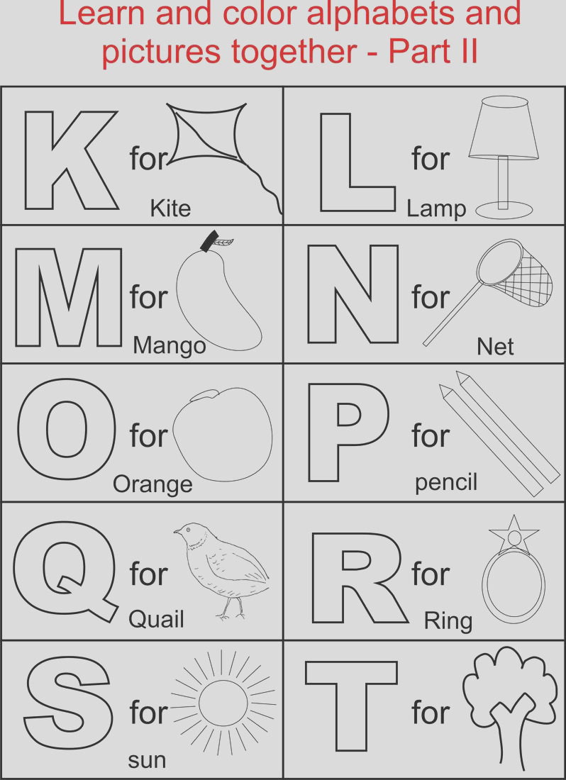 1202 Alphabet Part II coloring printable page for kids