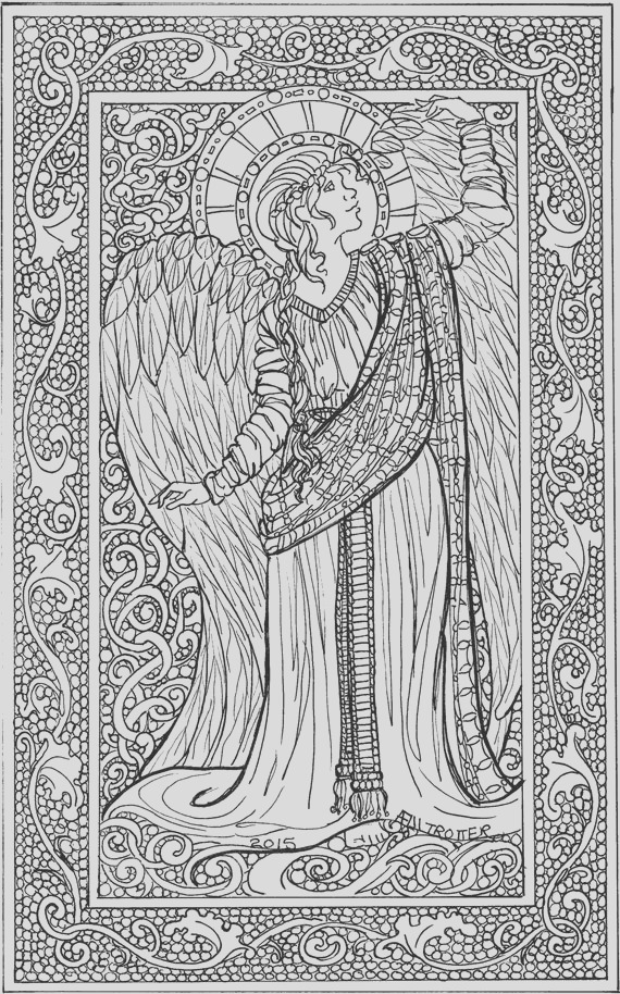 angel coloring sheet adult coloring