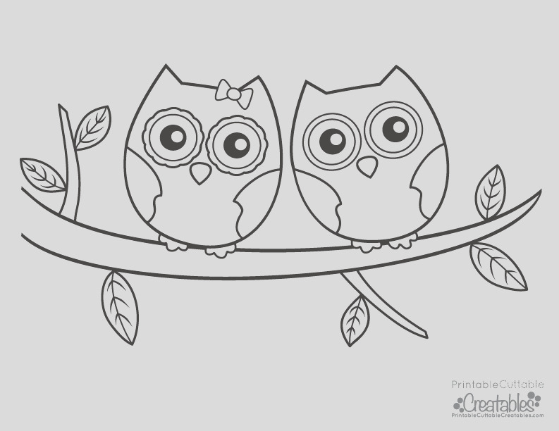 owls couple free printable coloring page