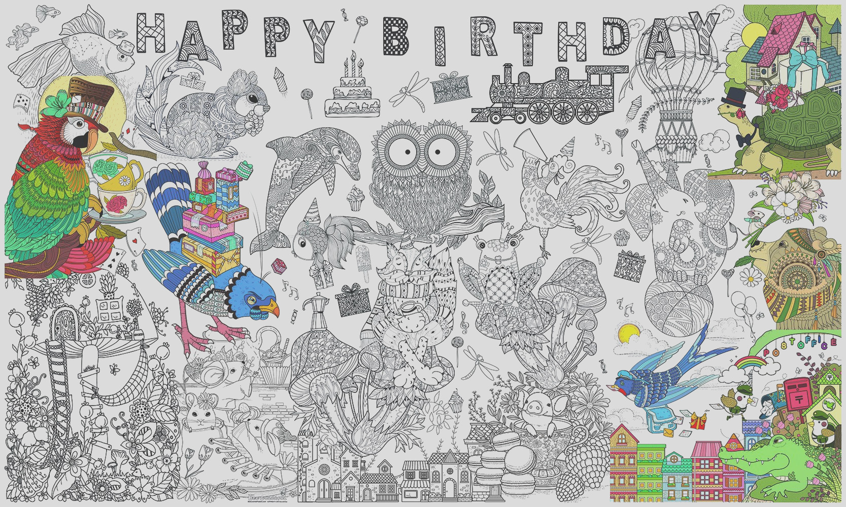 great2bcolorful happy birthday poster