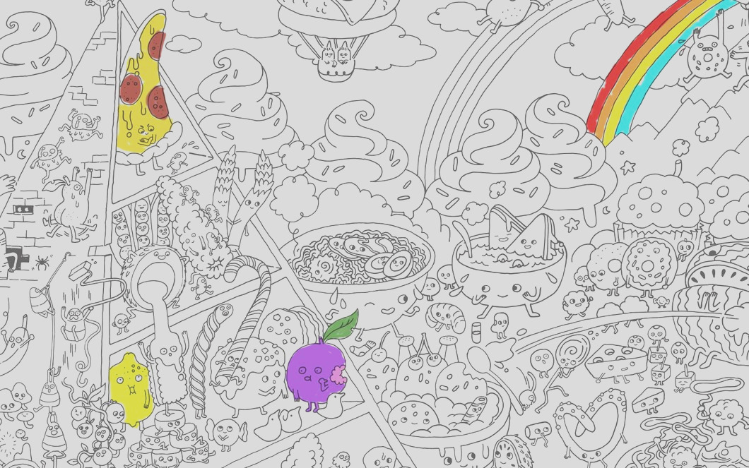 food fight coloring poster