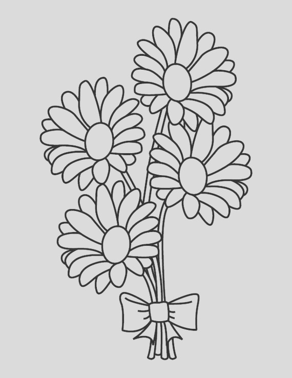 daisy bouquet coloring page