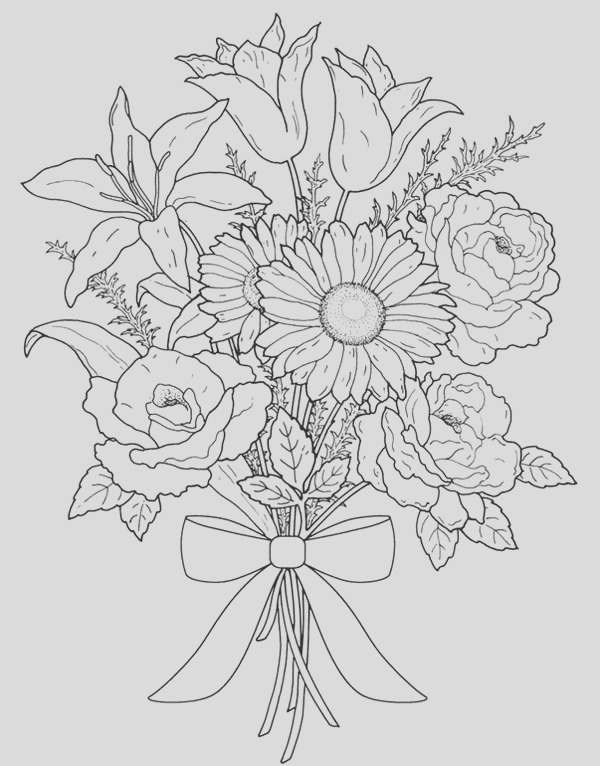flower bouquet for valentine day coloring page
