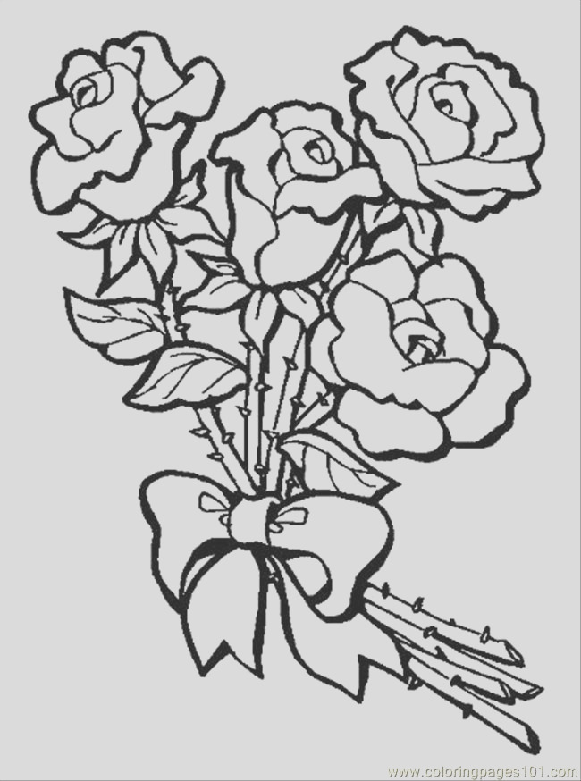 s bouquet of roses preview coloring page
