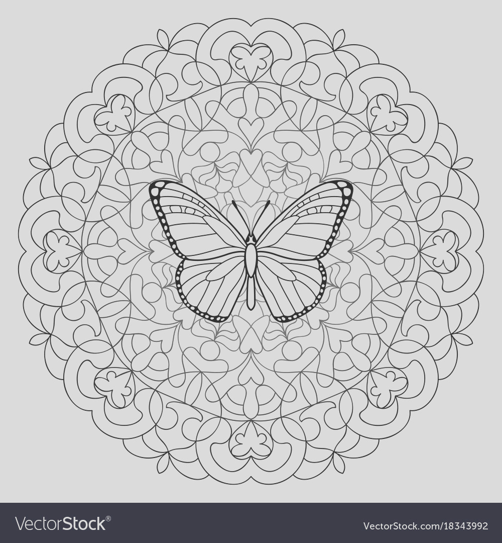 butterfly mandala coloring page vector