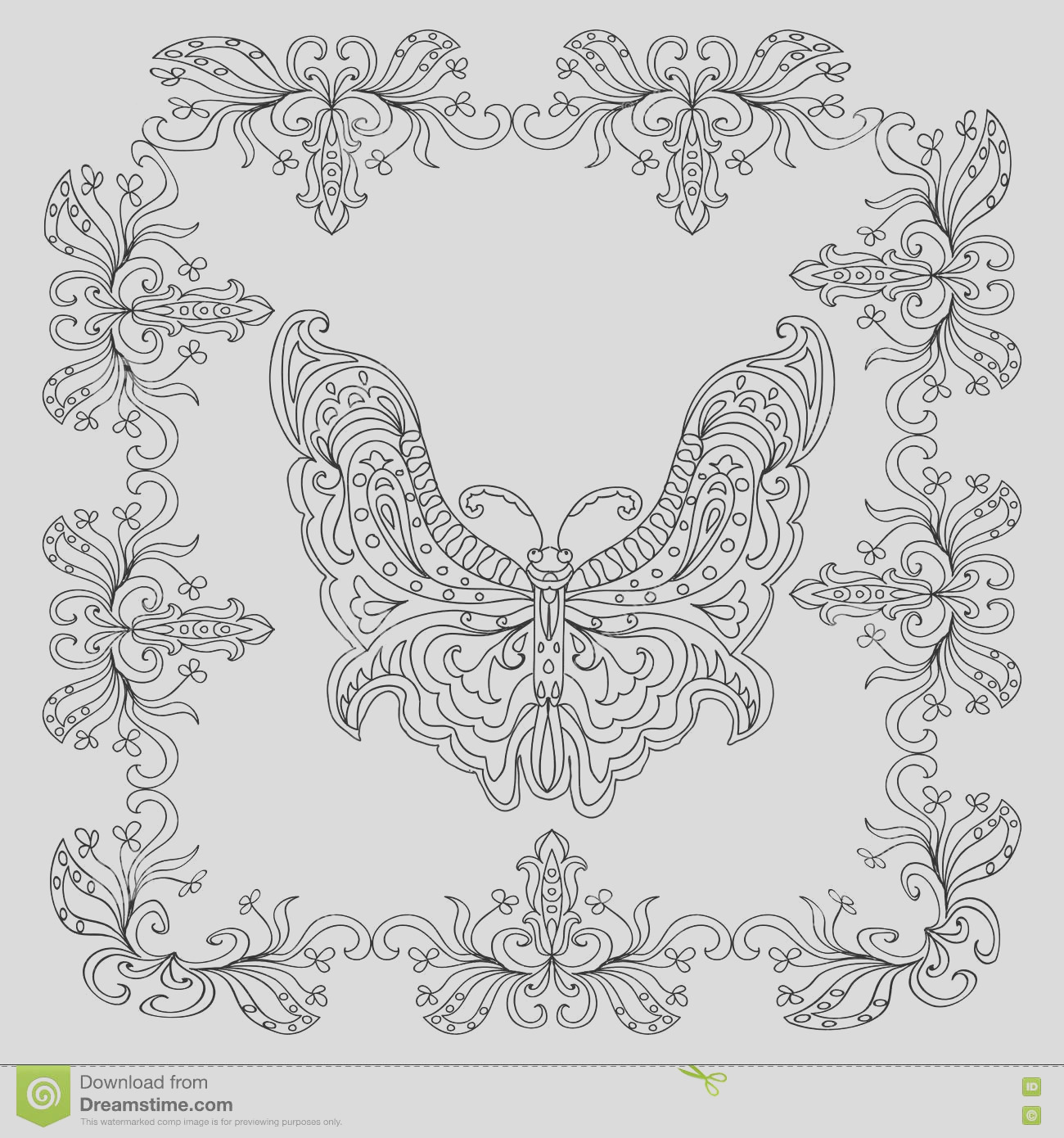 stock illustration butterfly abstract mandala coloring page isolated image