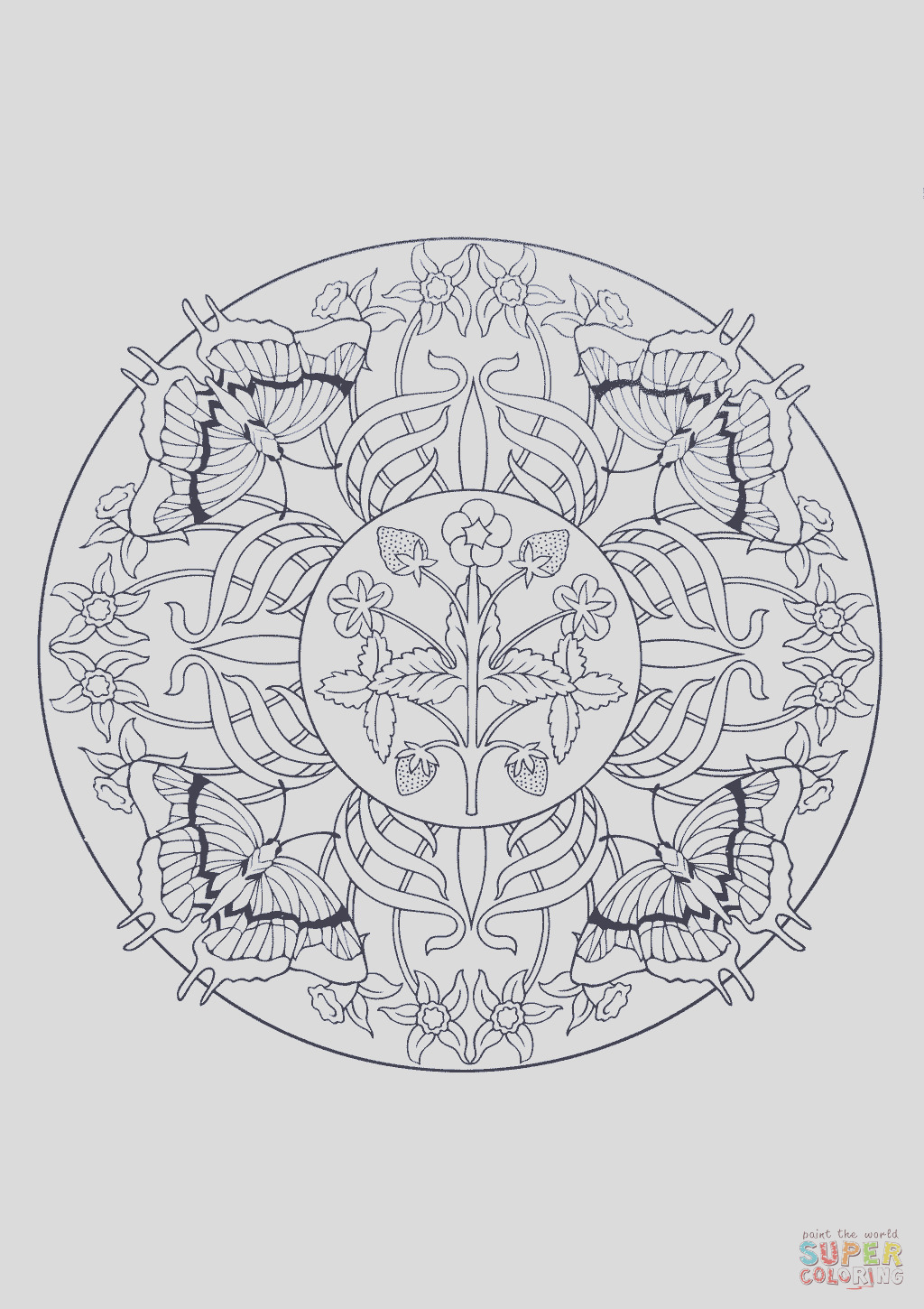 butterfly mandala pages sketch templates