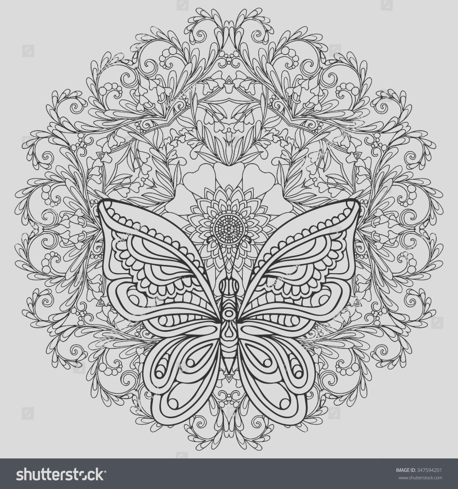 stock vector butterfly and floral mandala coloring book for adult and older children coloring page outline