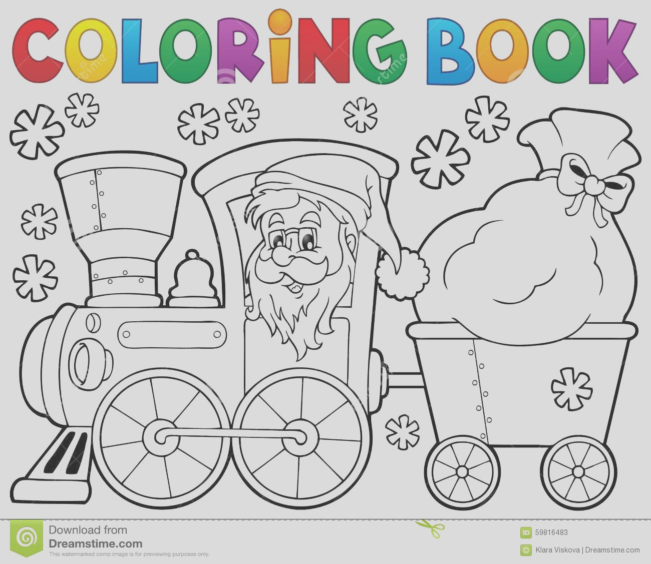 stock illustration coloring book christmas train eps vector illustration image