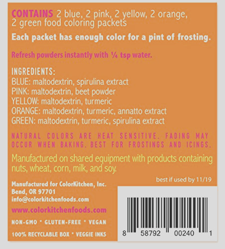 food coloring colorkitchen color packets 10 pack blue pink yellow orange green 25g per packet natural vegan non gmo no artificial food dyes highly concentrated powder pigment