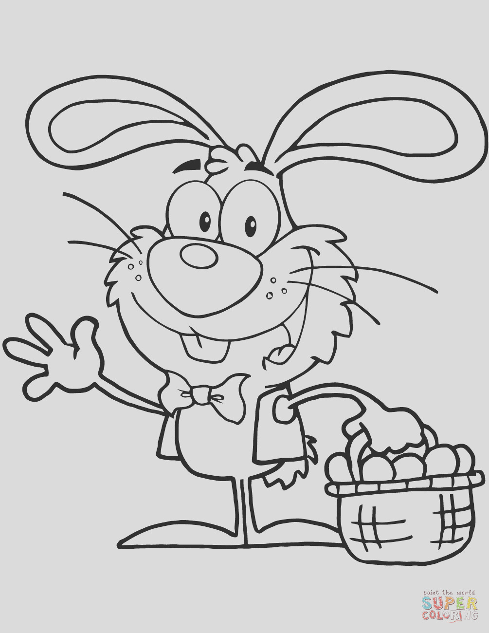 waving bunny with easter eggs and basket