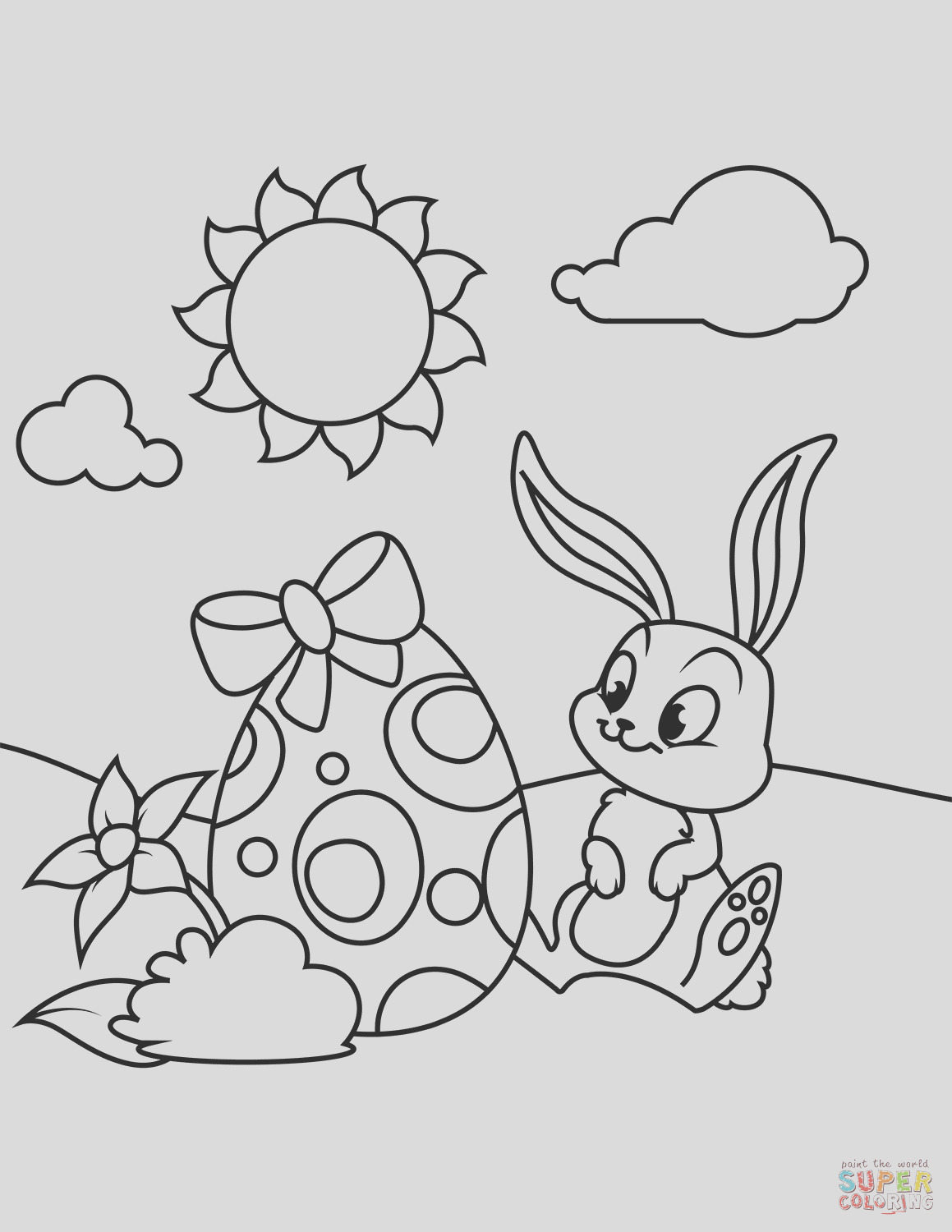 cute bunny and easter egg