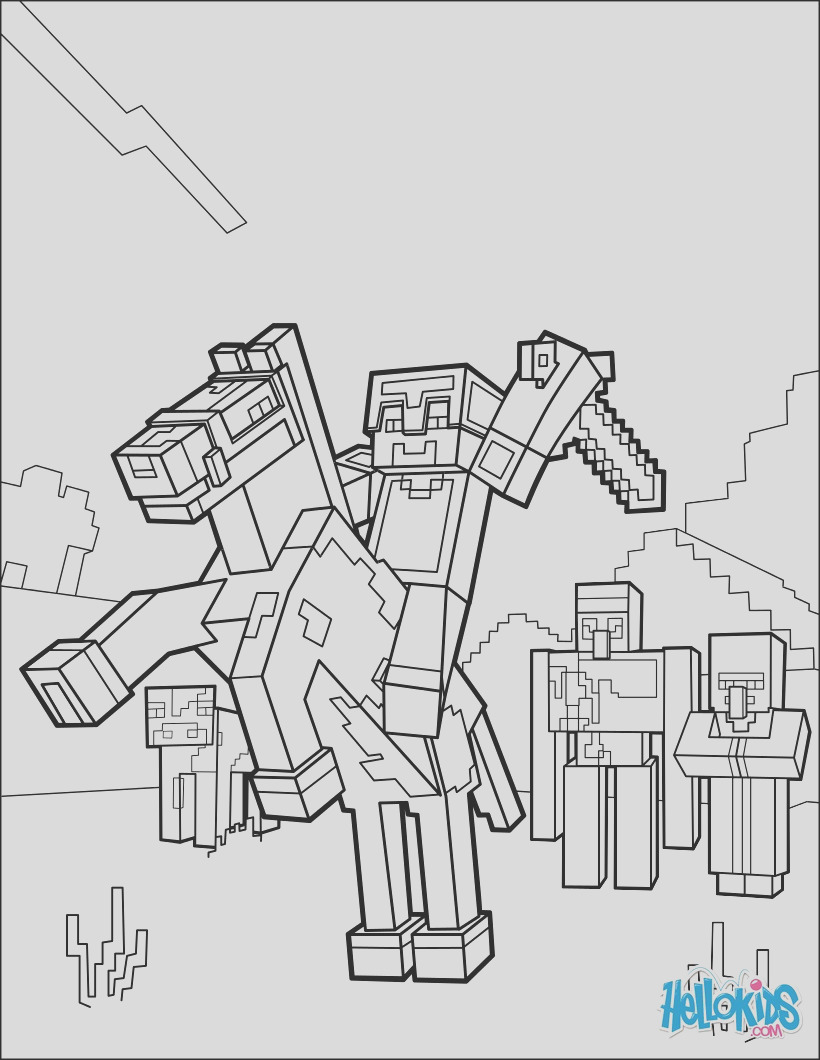 minecraft coloring page ride a horse to the horizon
