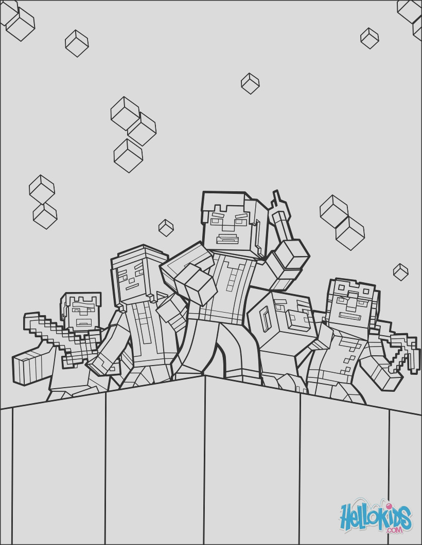 minecraft coloring page explore the world