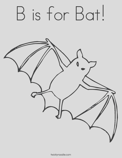 b is for bat 7 coloring page