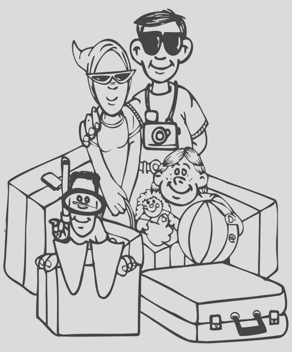 family vacation picture coloring page