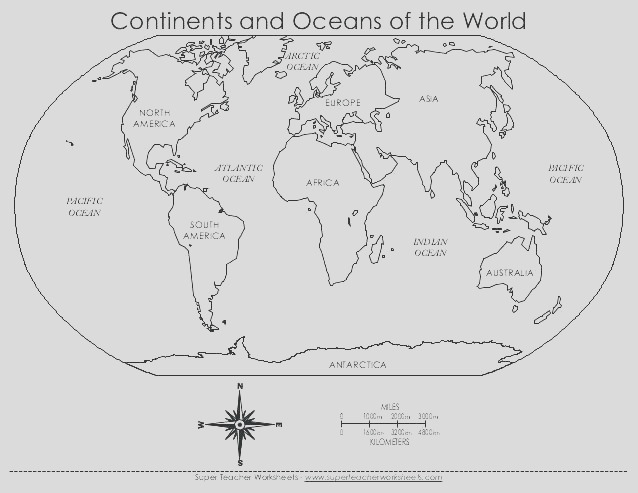 7 continents coloring page