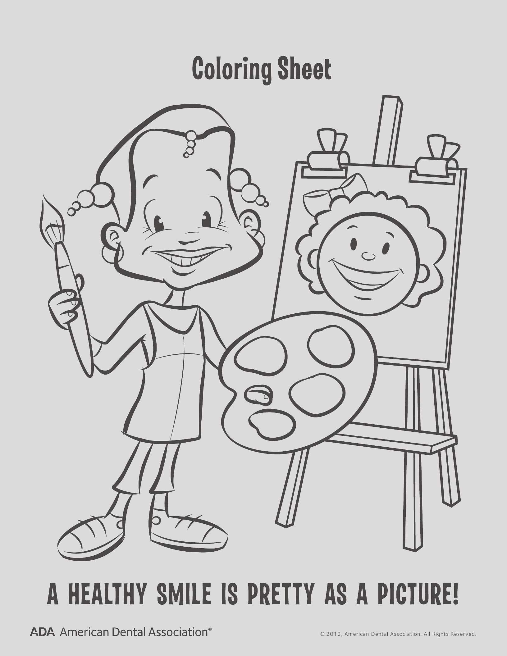 8 dental health coloring pages