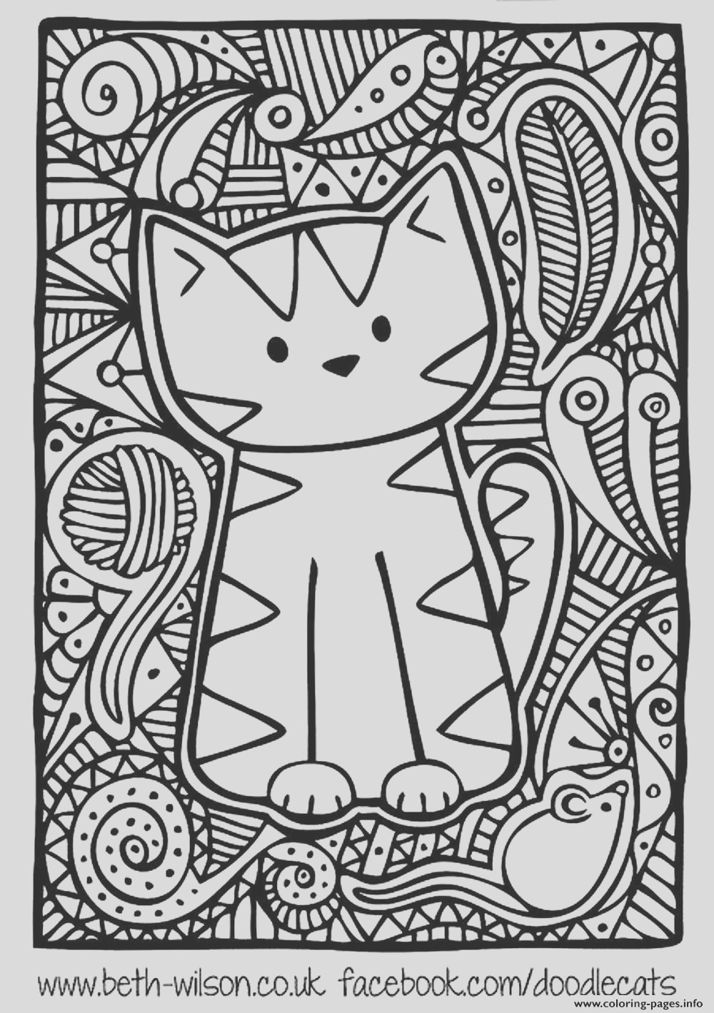 adult difficult cute cat printable coloring pages book 3514