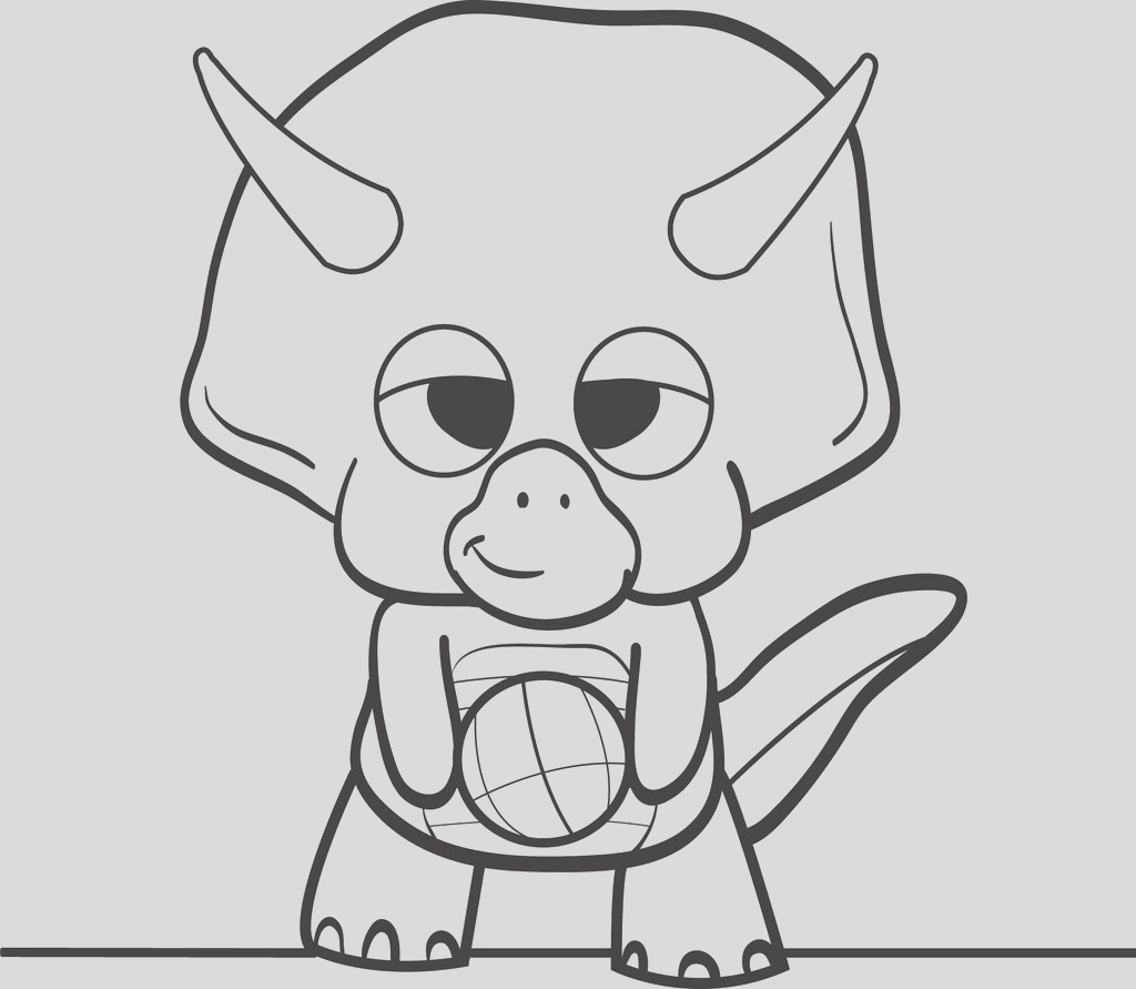 cartoon dinosaur holding a ball coloring page a4246