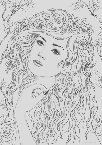 nymph printable adult coloring page from