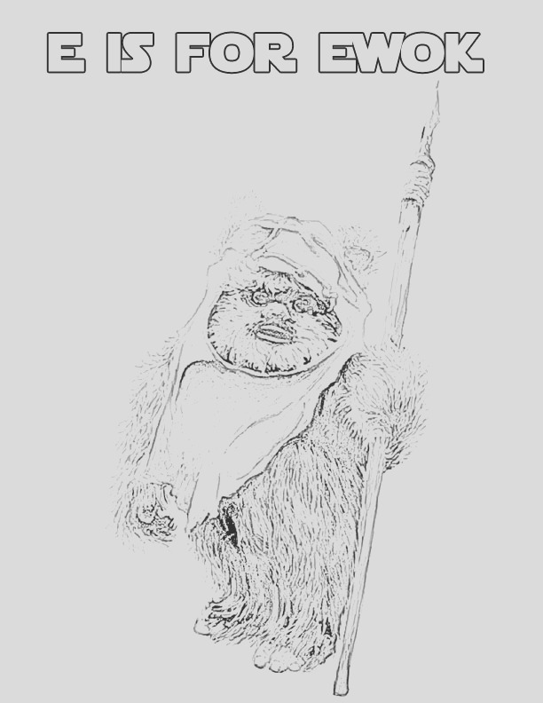 star wars alphabet coloring page letter e ewok free printable