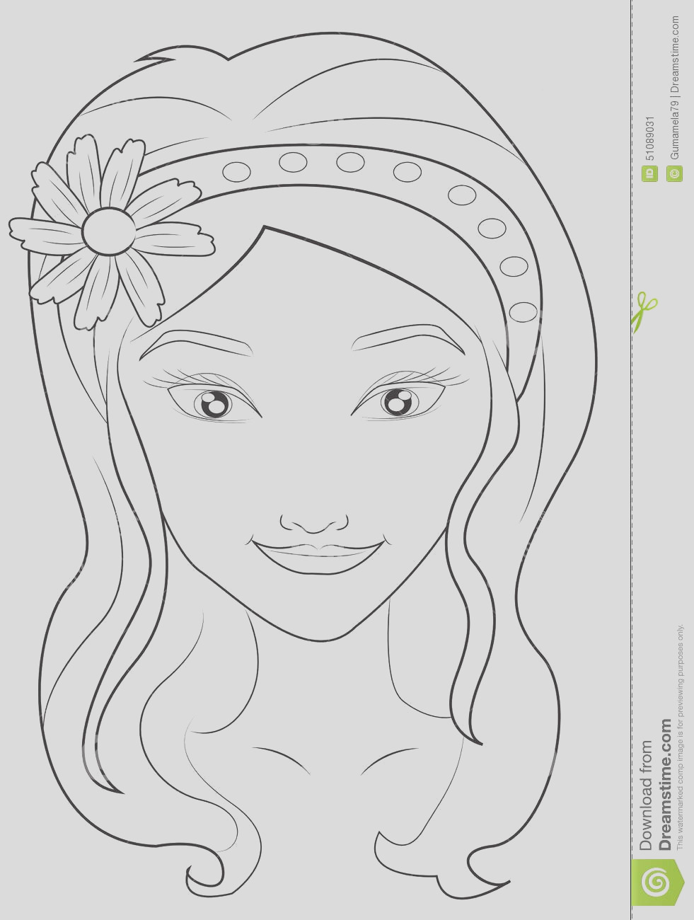stock illustration girl s face coloring page useful as book kids image