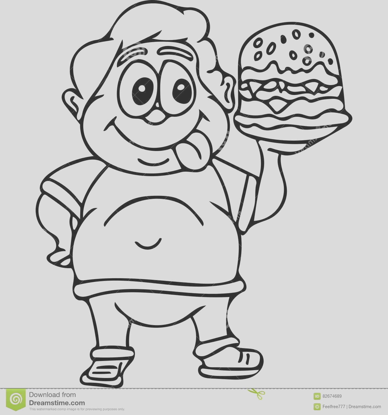 stock illustration fast food kids coloring pages hand drawing illustration you can see some kid eating tasty burger great picture gor all image