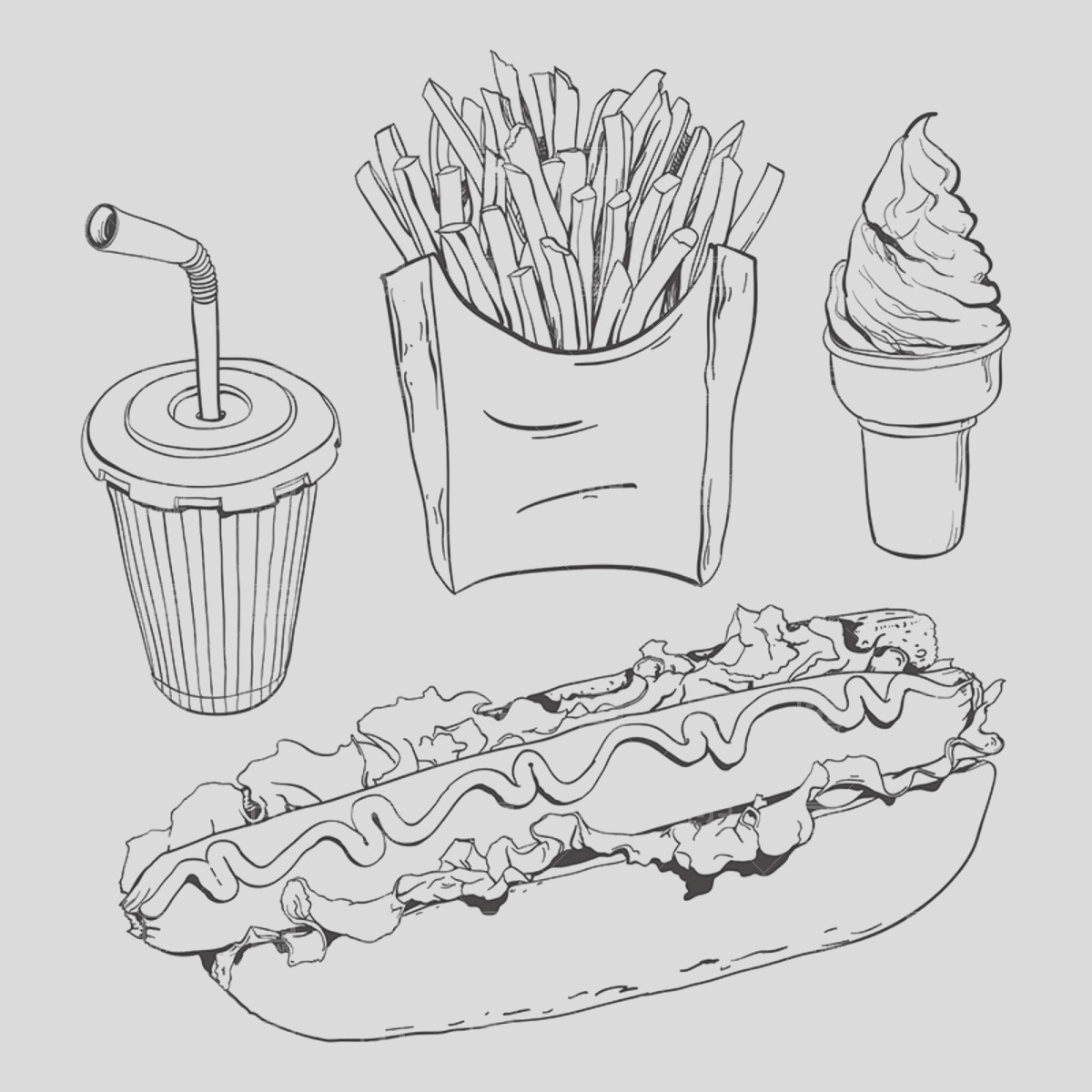 fast food set isolated on white 1857 vector clipart