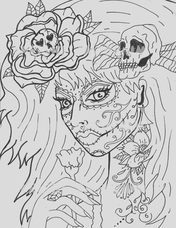 day of the dead girl coloring page