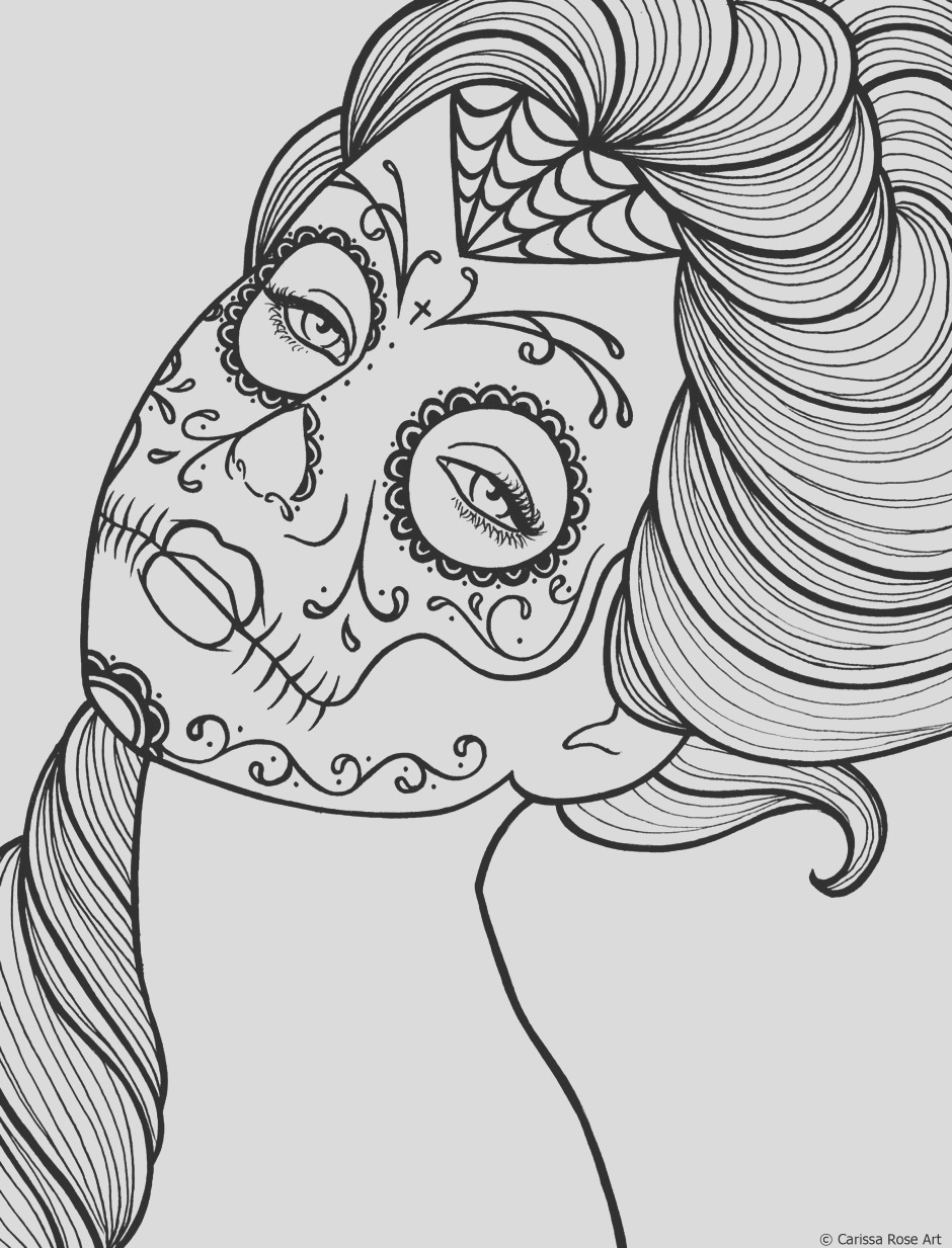 adult coloring pages sugar skull woman