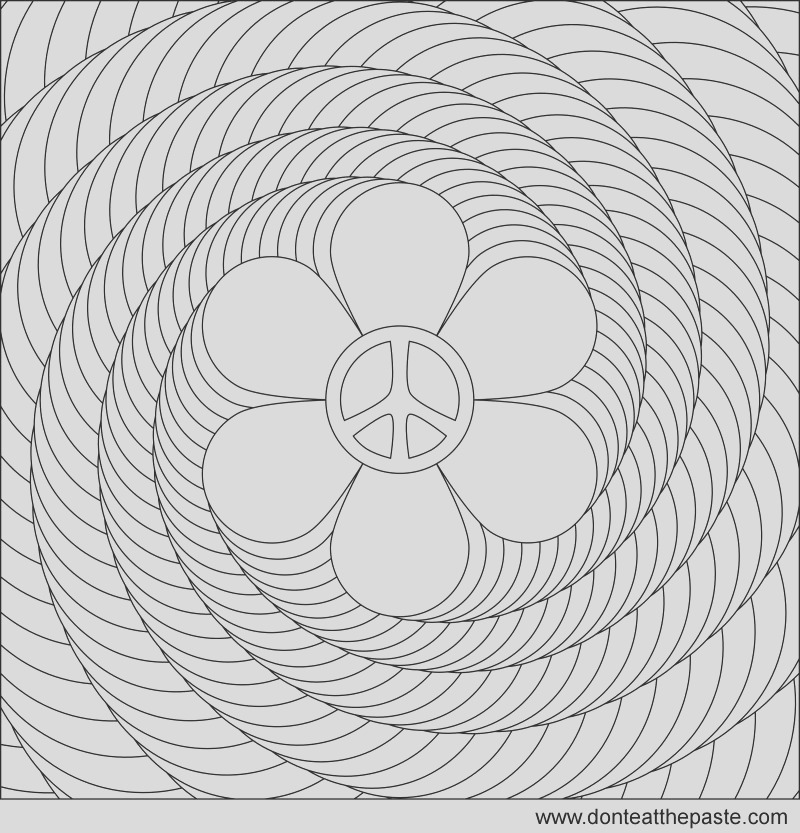 flower power spiral coloring page