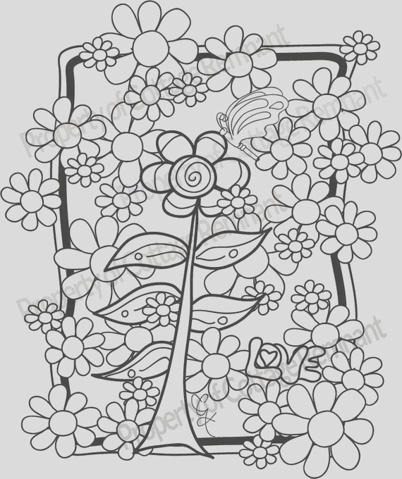 flower power adult coloring page