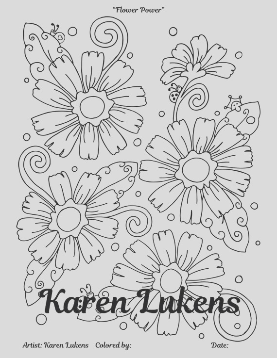 flower power 1 adult coloring book page