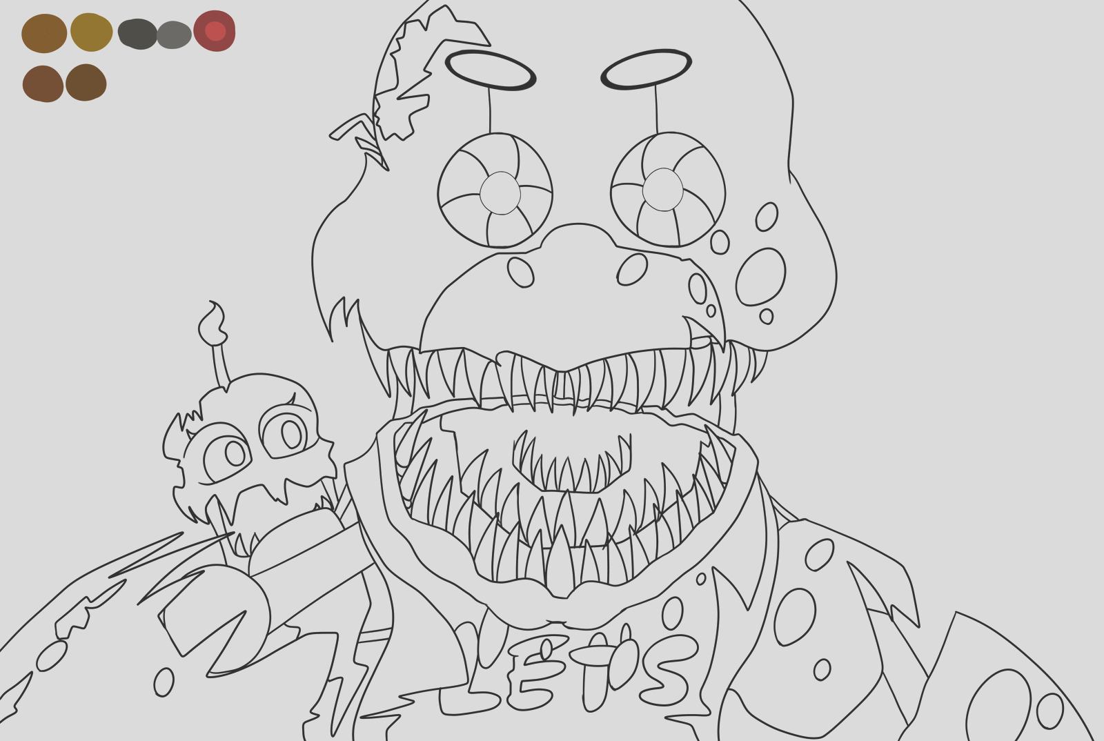 Nightmare Chica outline