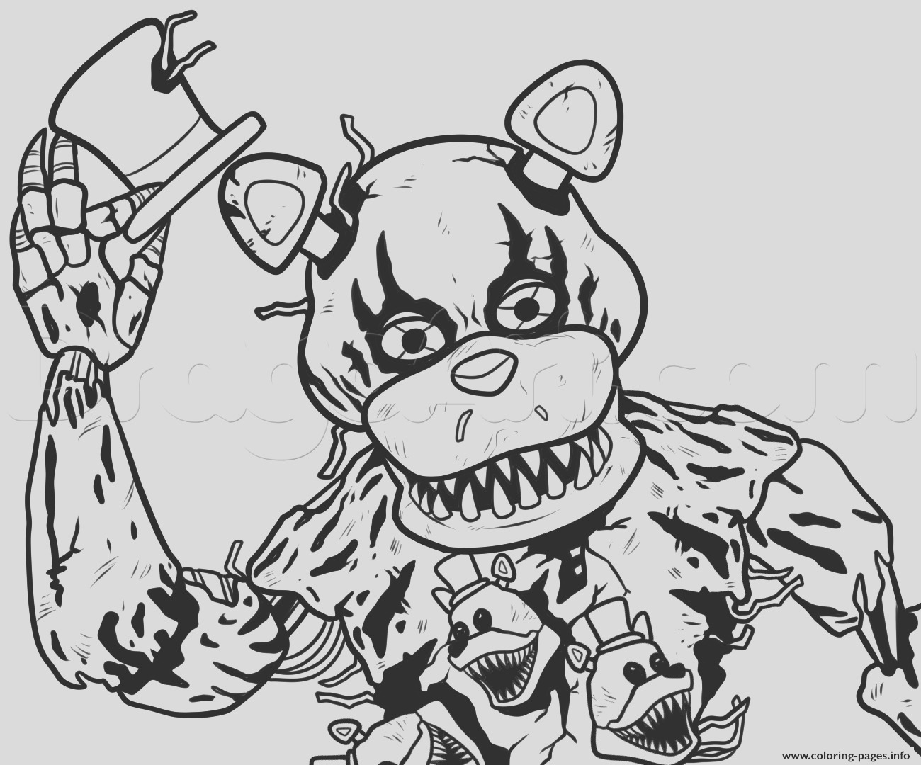 draw nightmare freddy fazbear fnaf printable coloring pages book