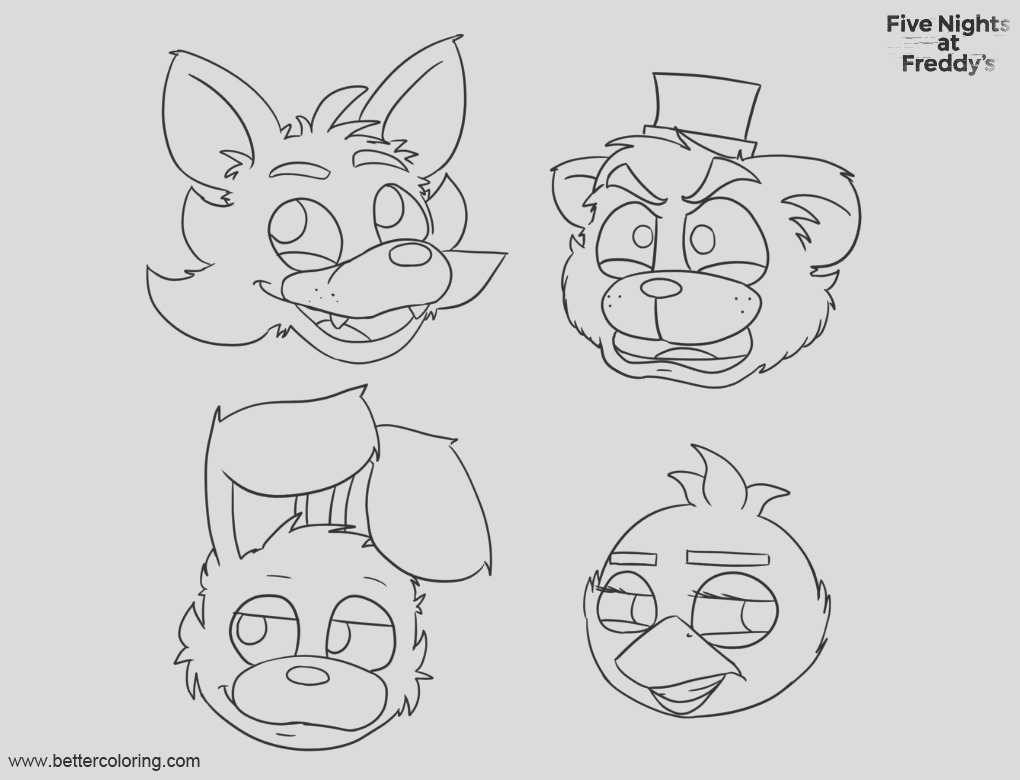 fnaf coloring pages five nights at freddys bonnie foxy mangle