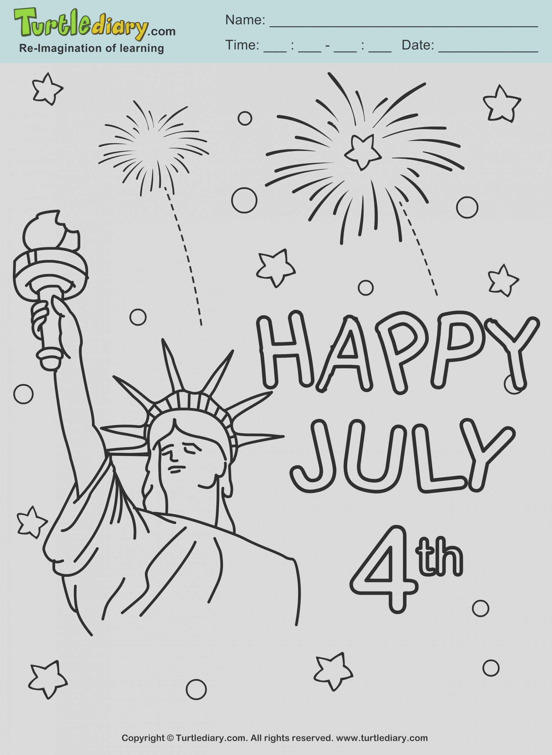 fireworks 4th of july printable coloring page