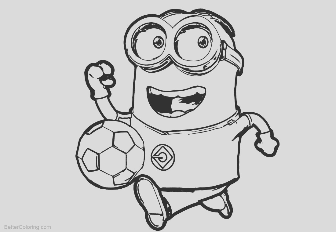 minion coloring pages play football