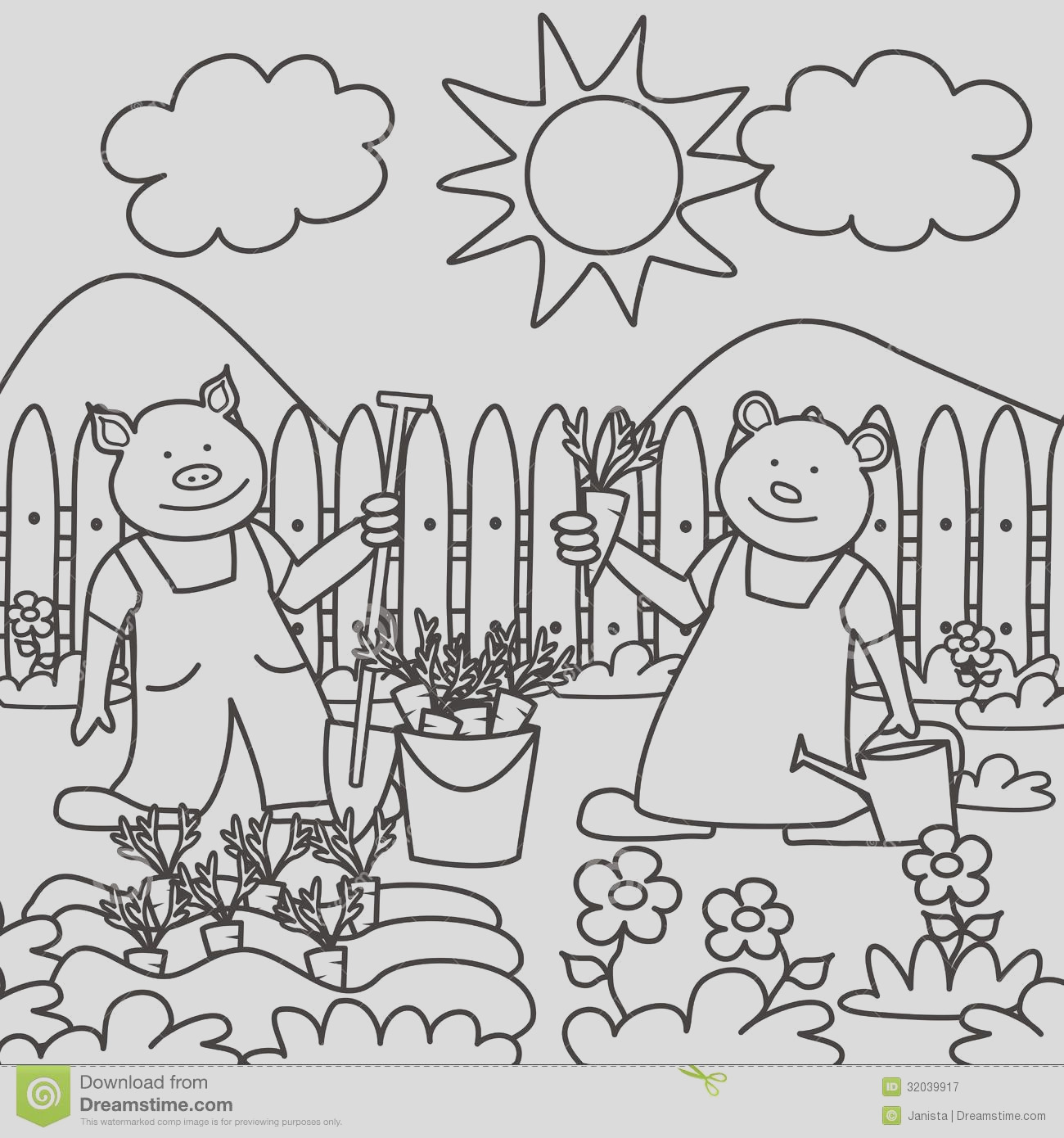 royalty free stock photography pig bear coloring books children working garden image