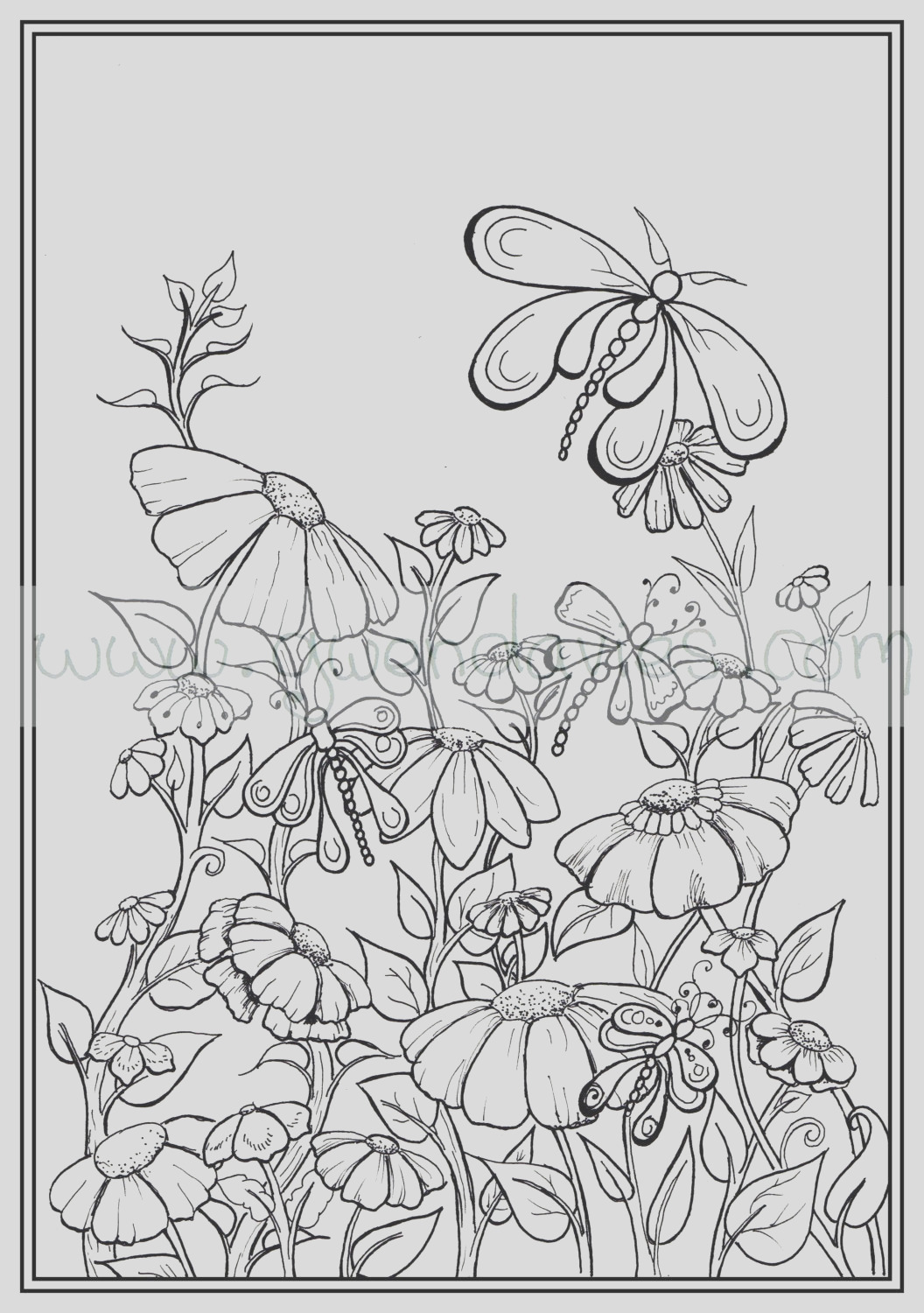 adult colouring in pdf garden