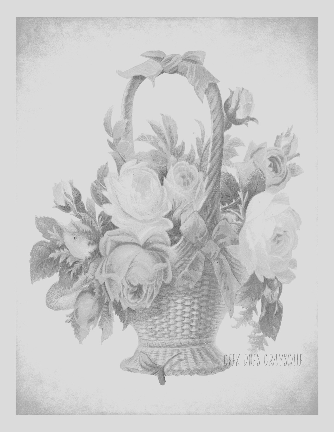 flower basket grayscale coloring page