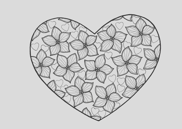 True Love Heart Adult Coloring Page