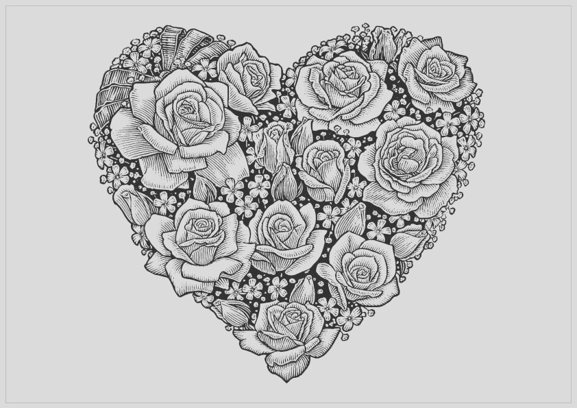 free adult printable coloring pages roses heart