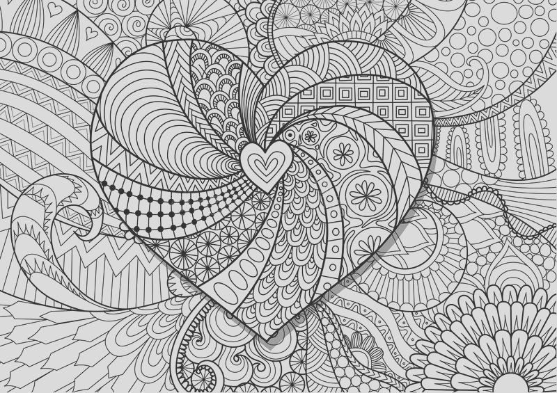 stock illustration heart flowers zendoodle design adult coloring book page stock vector image