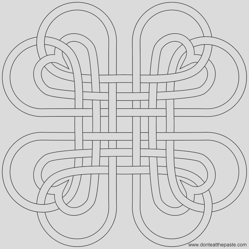 heart knot coloring page and embroidery