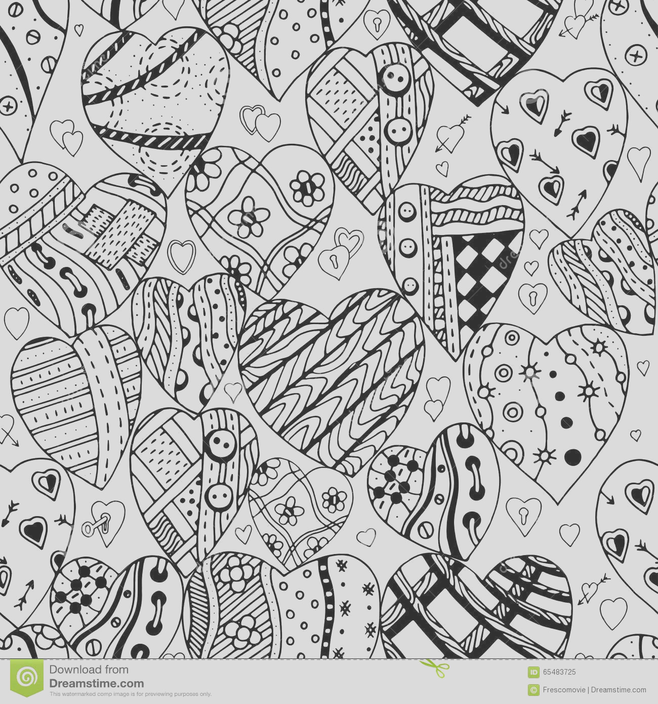stock illustration pattern monochrome hearts hand drawn ornamental heart love doodle zentangle tribal style seamless adult coloring image