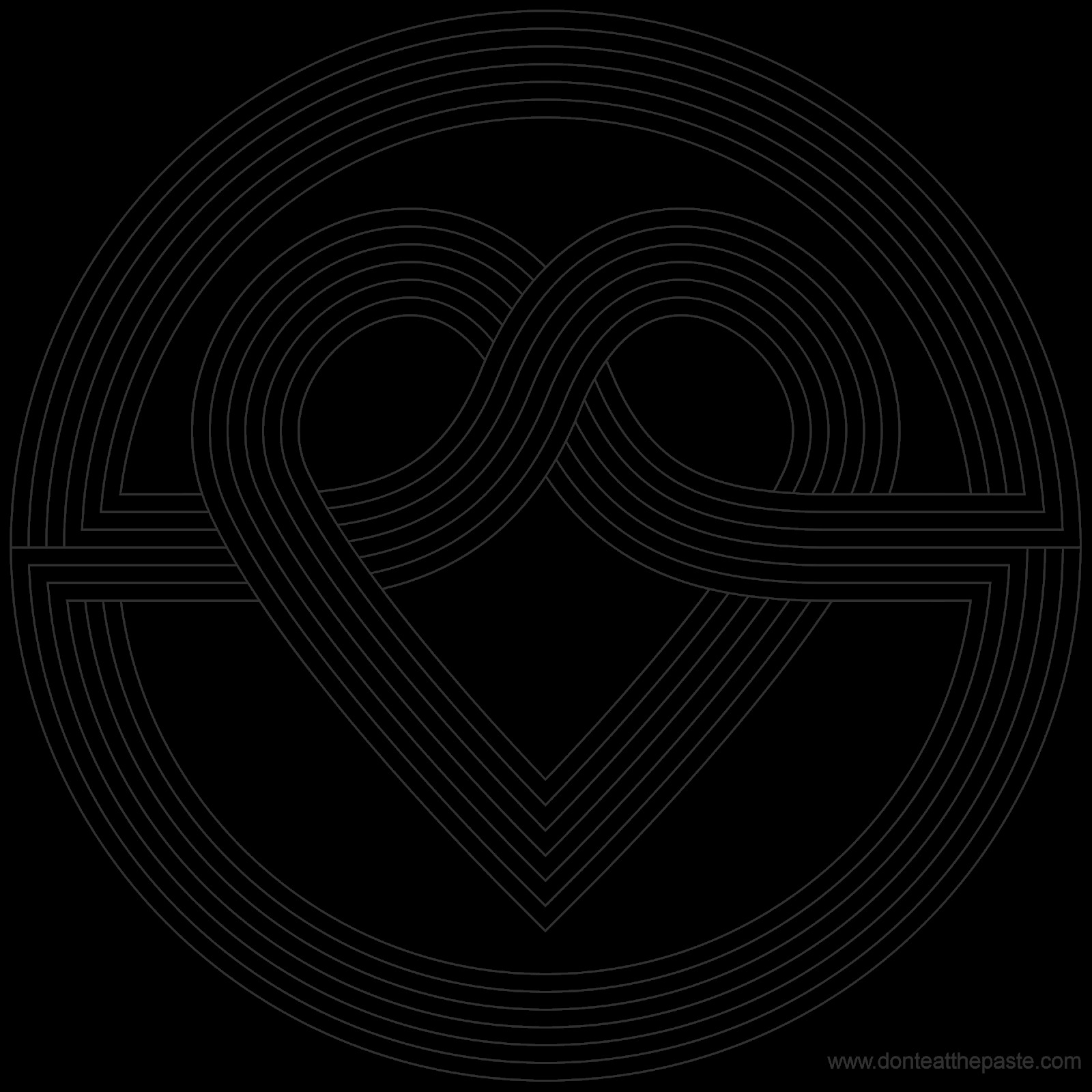 simple heart knot coloring page
