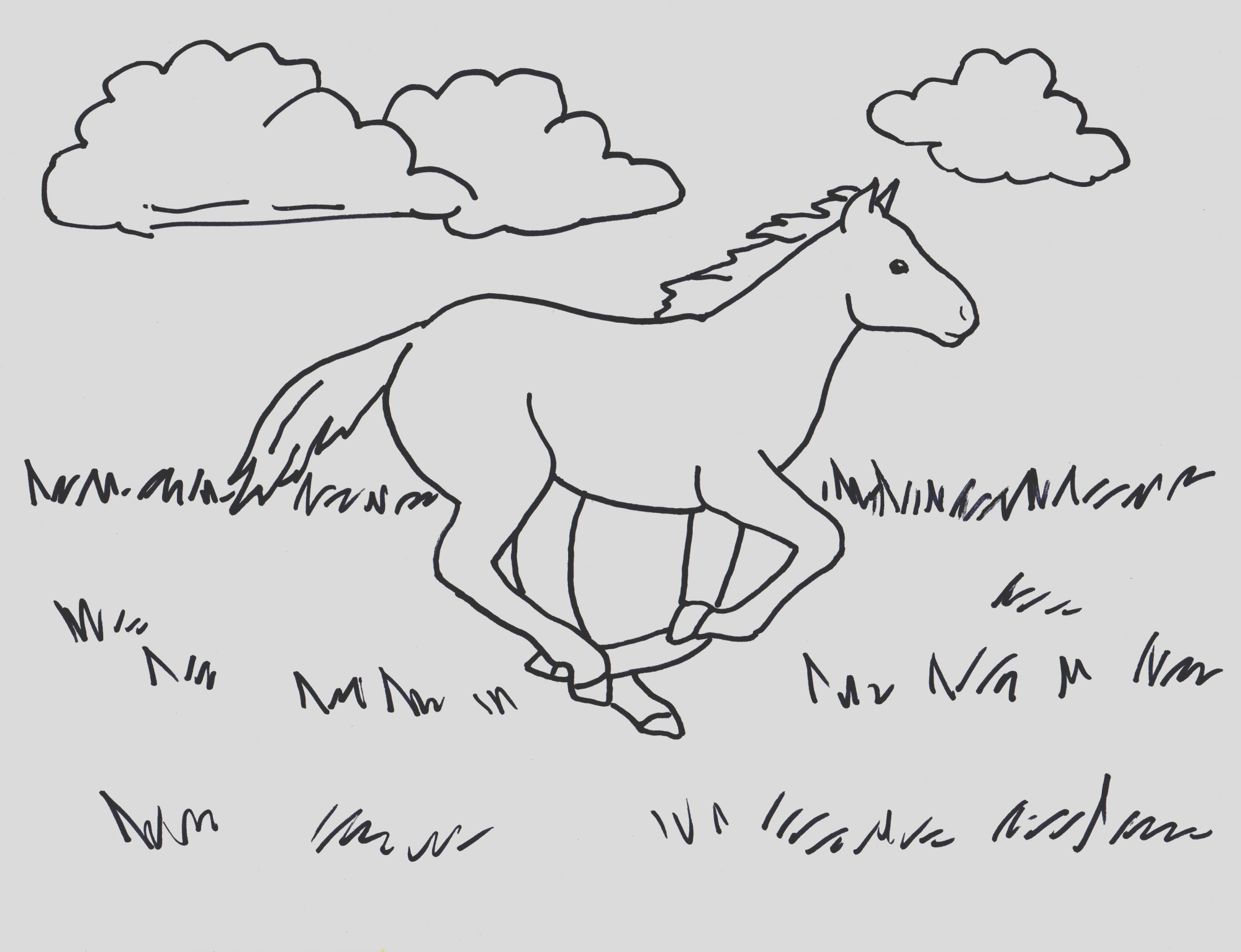 running horse coloring page